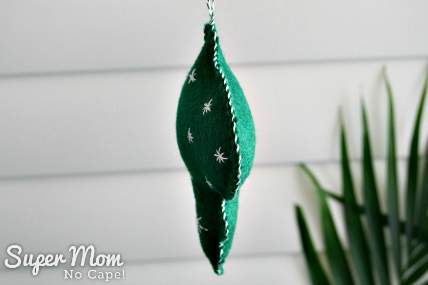 White whip stitching on Green Felt Bauble with White Embroidered Stars