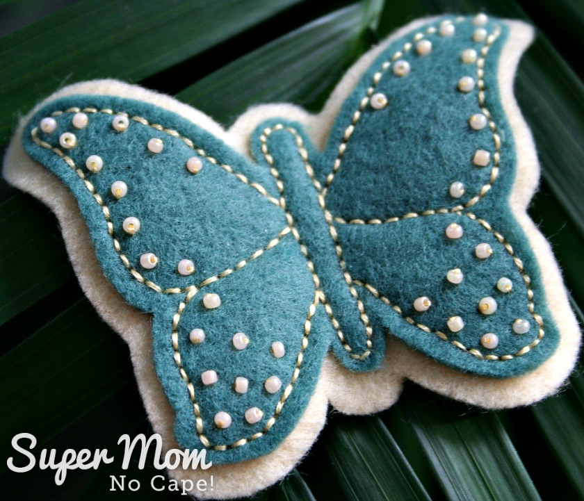 Green Beaded Felt Butterfly