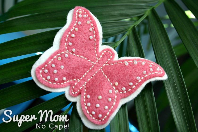 Pink Beaded Felt Butterfly