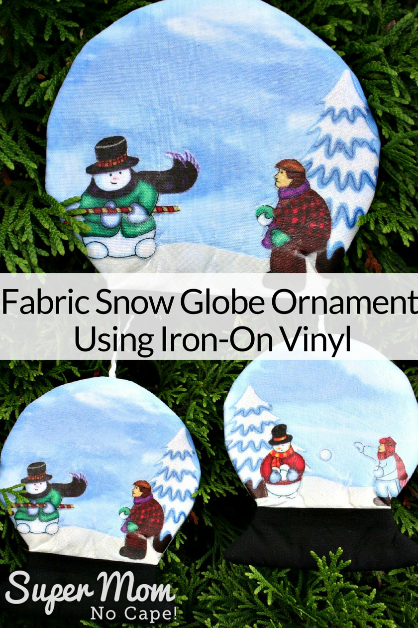Collage photo of Fabric Snow Globe Ornaments Using Iron On Vinyl