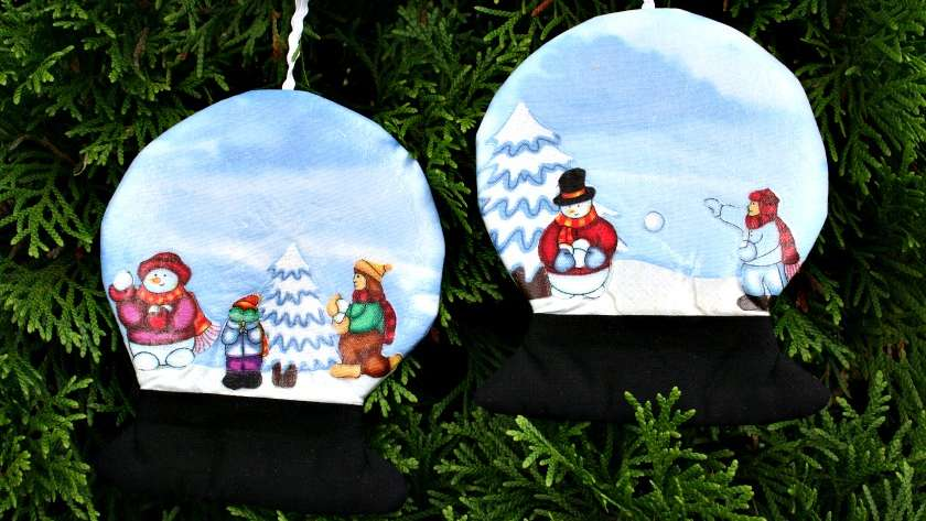 Fabric Snow Globe Ornaments Using Iron-On Vinyl