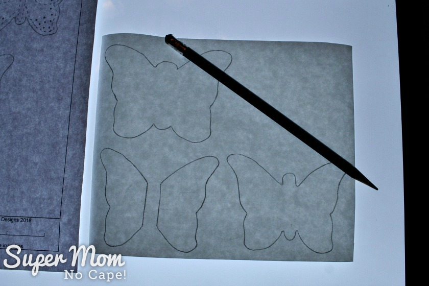 Step 1 - Trace the pattern for the Beaded Felt Butterfly onto the paper side of freezer paper