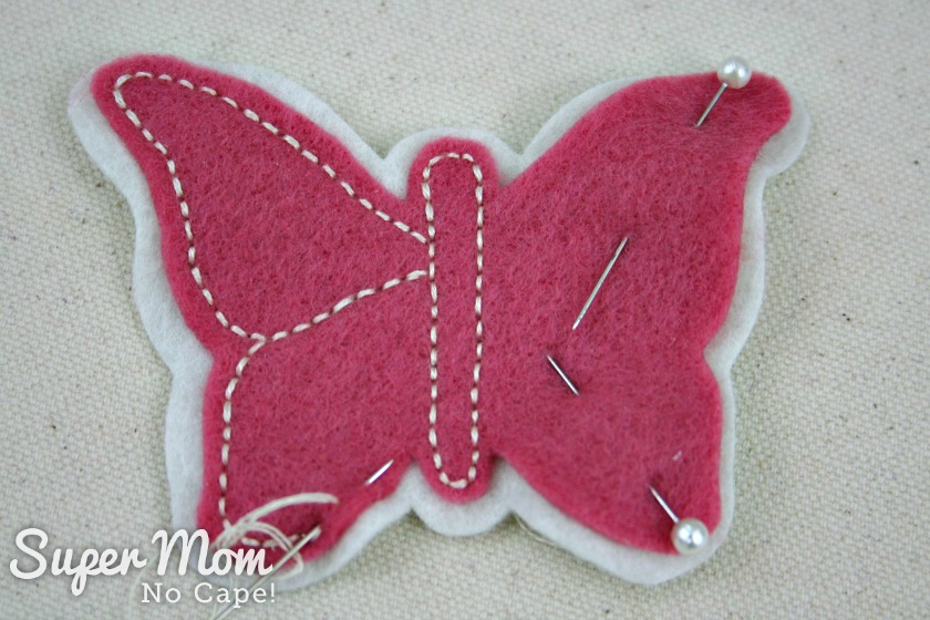 Embroidering the butterfly using backstitch