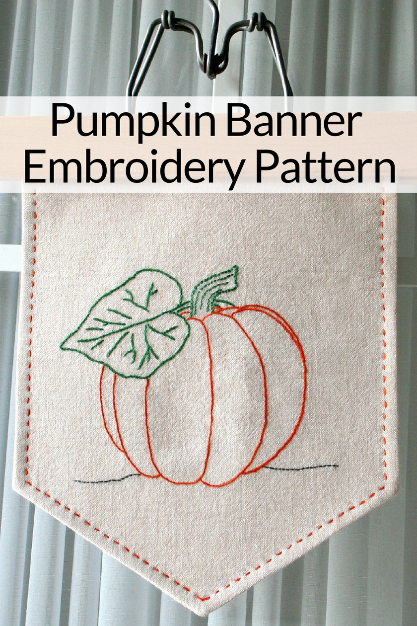 Pumpkin Banner Embroidery Pattern
