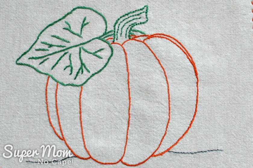 Pumpkin Embroidered on fabric