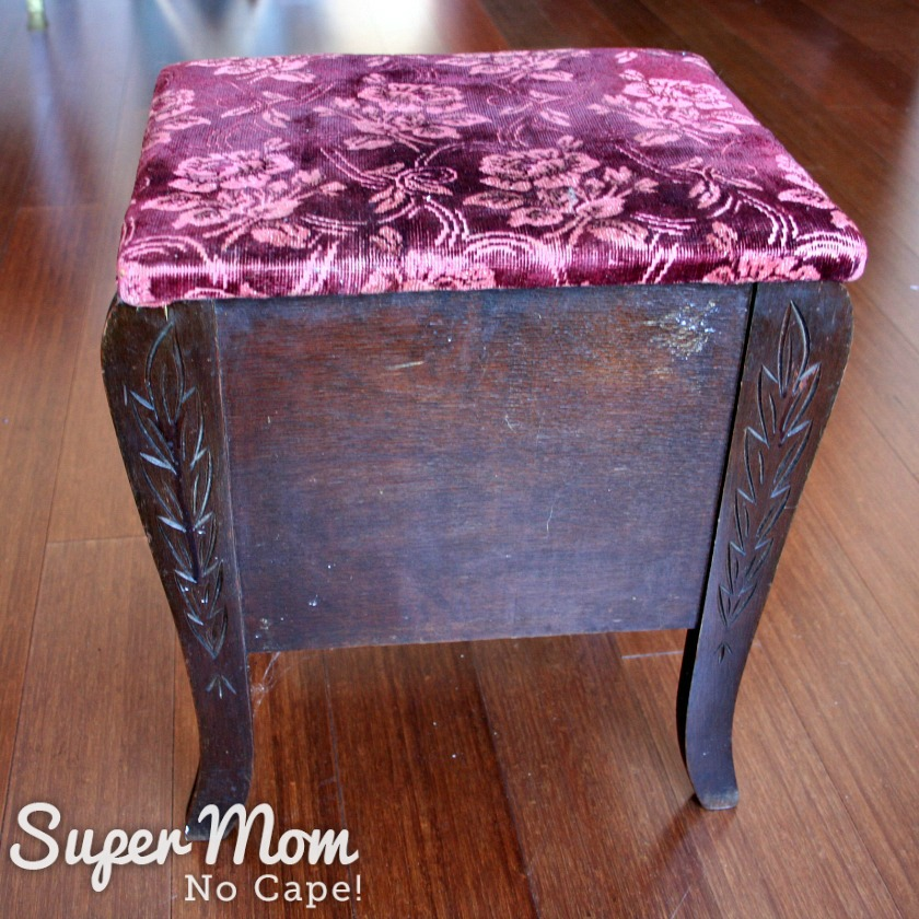 Before picture of thrift store stool turned thread storage stool