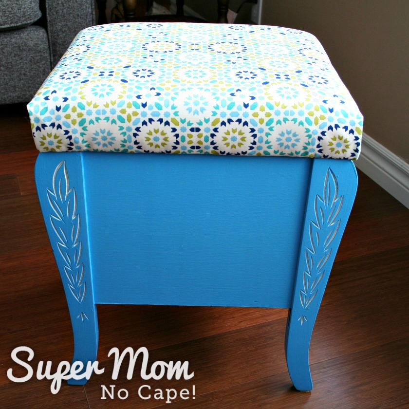 Refinished thread storage stool with newly reupholstered seat