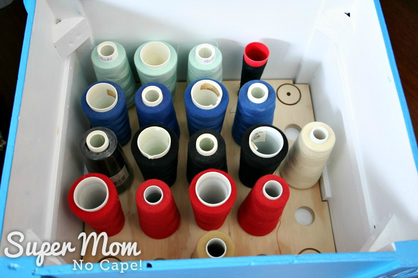 Serger spools in bottom of thread spool stool