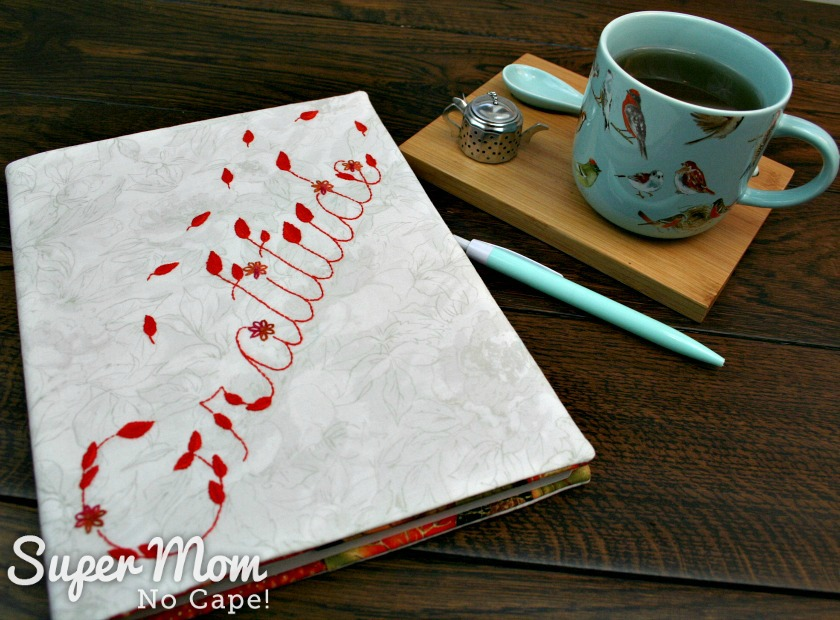 Gratitude Journal with Gratitude Embroidery Pattern, tea cup and pen