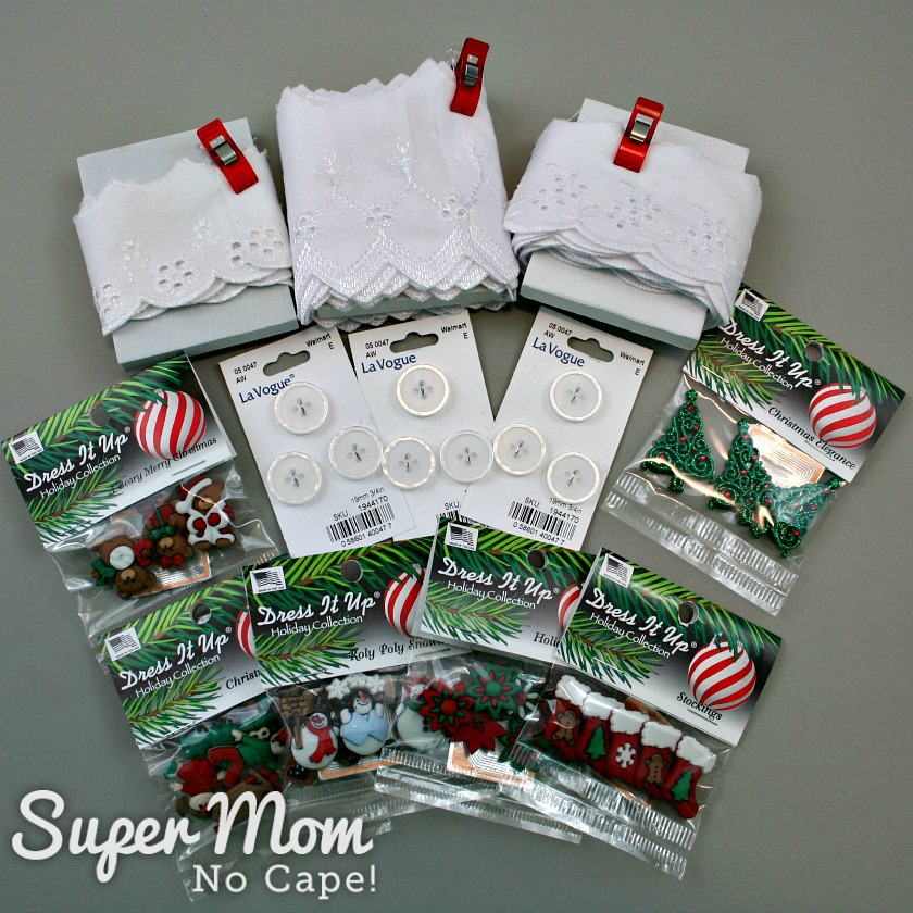 Items needed to make the Christmas Button Lace Ornaments