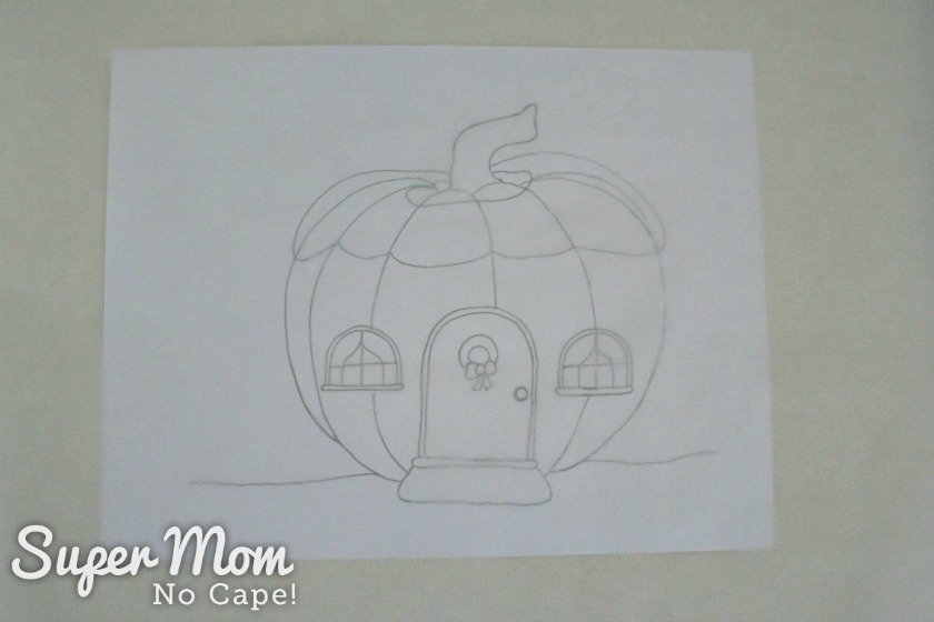 Parchment paper places over the Pumpkin Gnome House pattern
