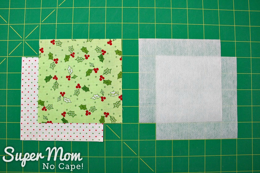 Two charm squares and interfacing for the Dresden Charm Ornament