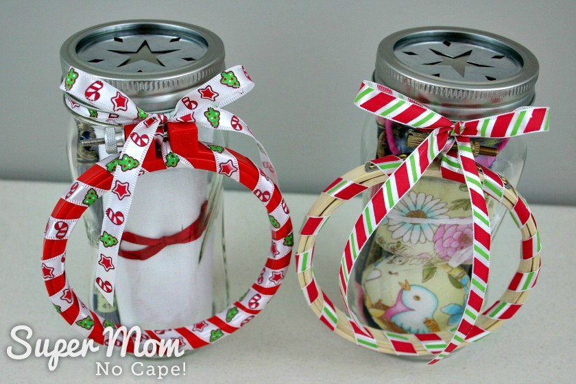 Two Mason Jar Embroidery Kits ready for gifting