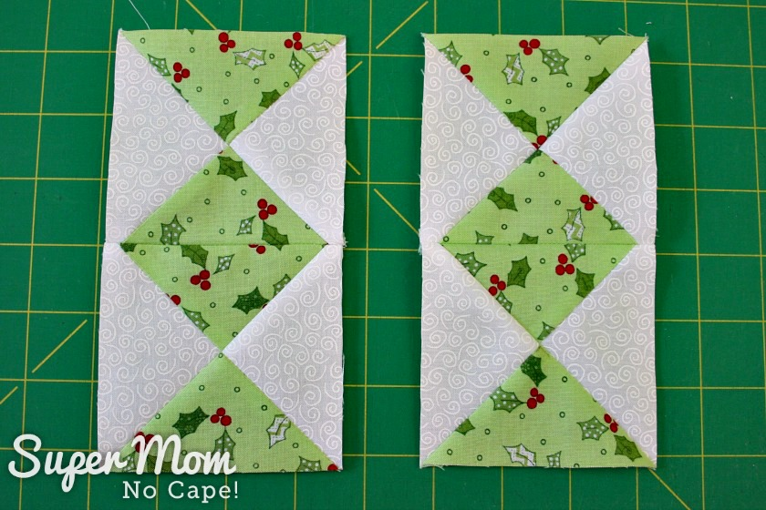 Two sets of hourglass blocks sewn together for the Quilted Hourglass Candle Mat