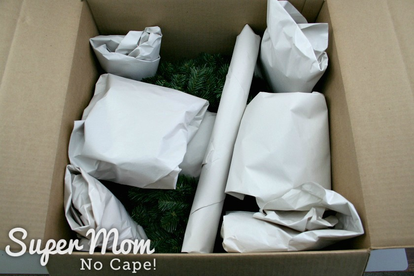 Wreath and wreath decorations packaged up ready to mail