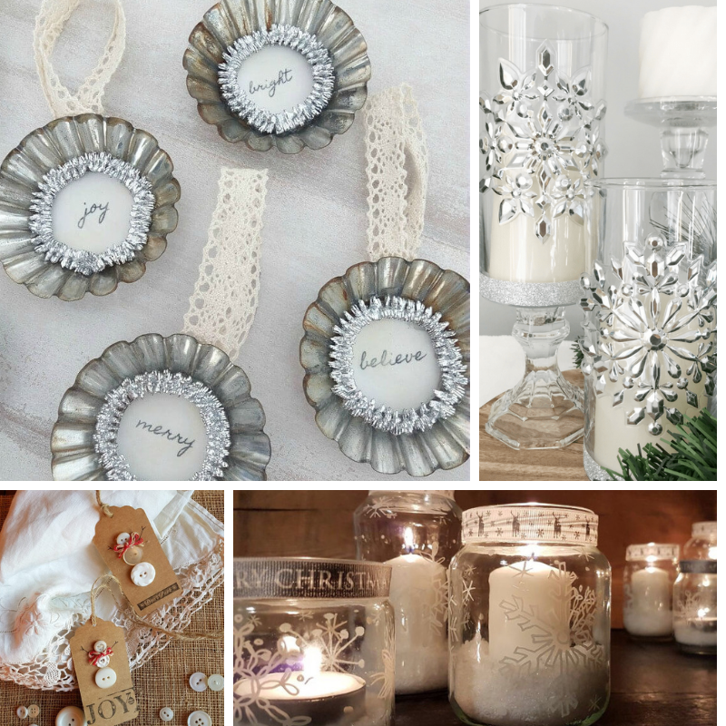 Collage photo of Christmas ornaments, gift tags and candle holders