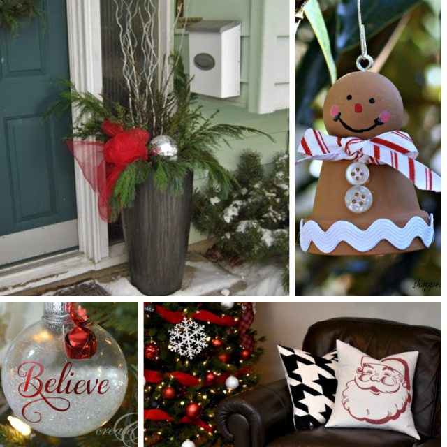 collage photo of flower pot snowman, outdoor Christmas planter, glass ornament and Santa pillow