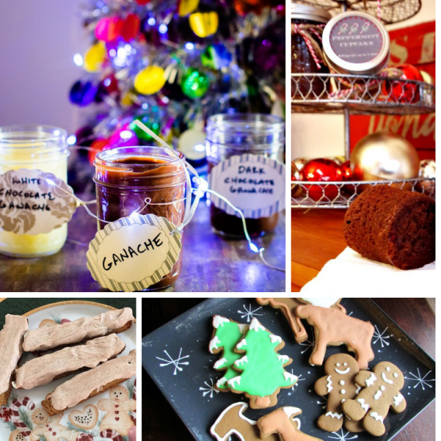 collage photo of cookies, jar of ganache and cake