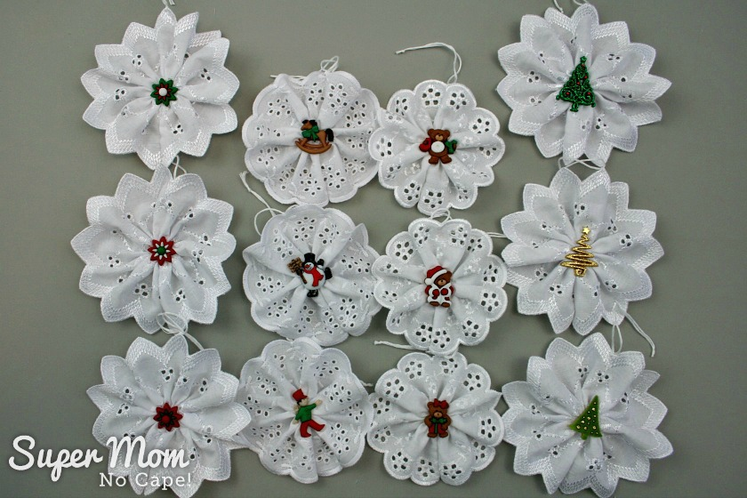 12 Christmas Button Lace Ornaments with a variety of button centers