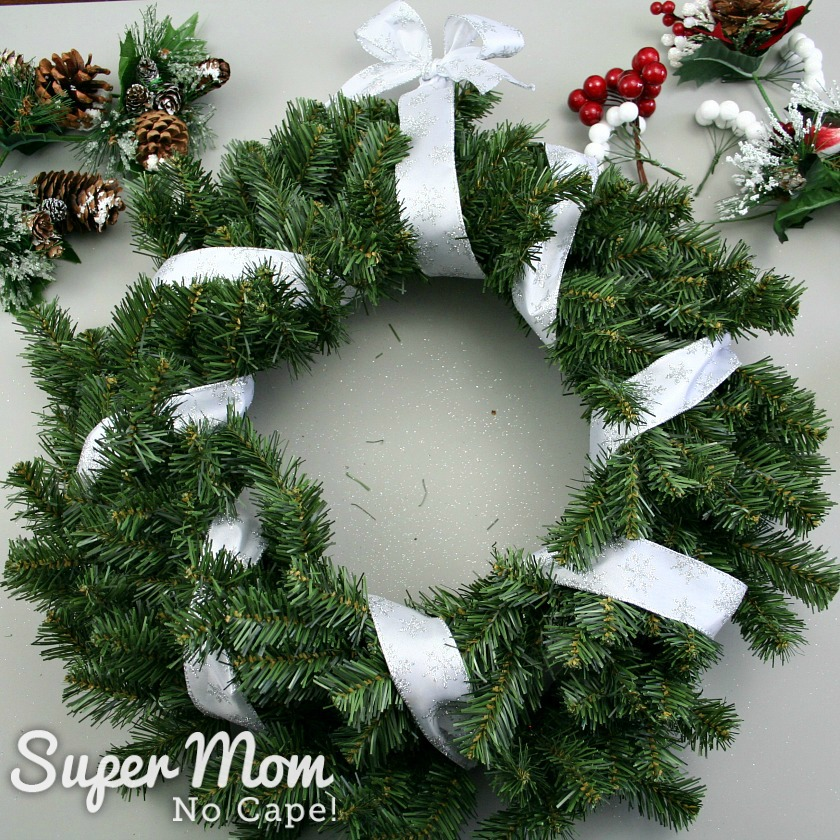 Showing first step how to make a wreath - Wreath with ribbon