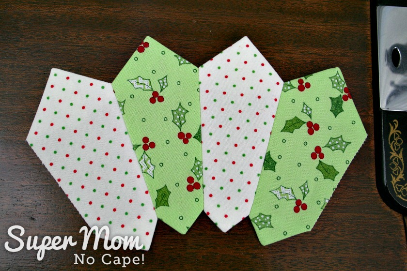 Four Dresden blades sewn together for the Dresden Charm Ornament