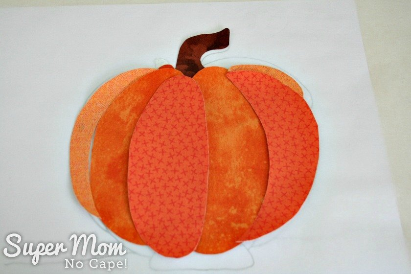 Applique pieces for the pumpkin of Pumpkin Gnome House