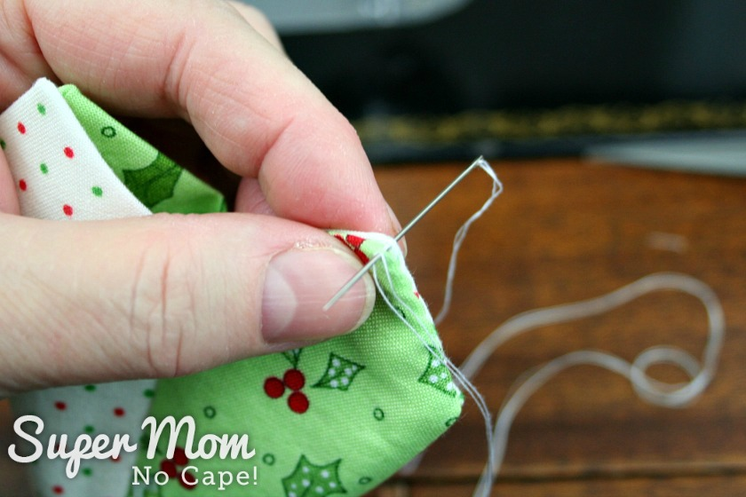 Slip stitch in the end of the Dresden Charm Ornament