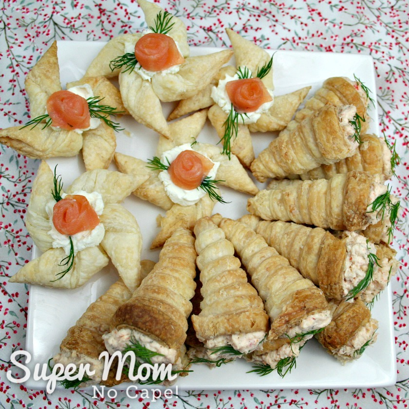 Puff Pastry Cone Appetizers on a plate with puff pastry pinwheels