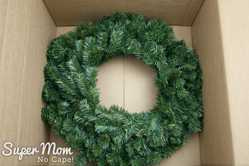 Wreath form in bottom of the shipping box
