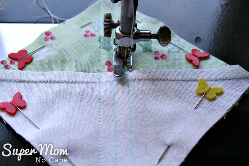 Sewing beside the outside lines that were drawn