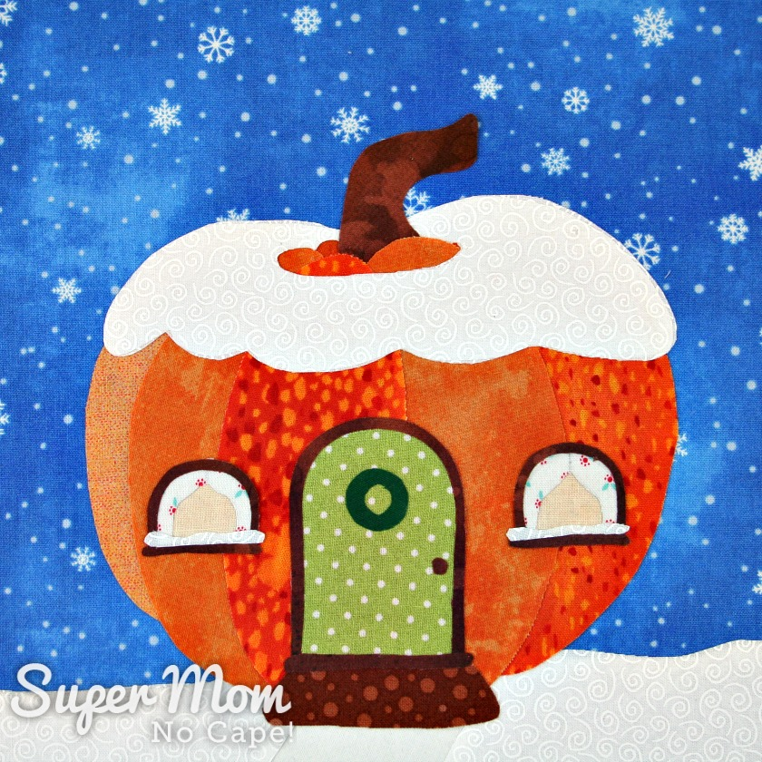 Close up of Pumpkin Gnome House with the applique complete