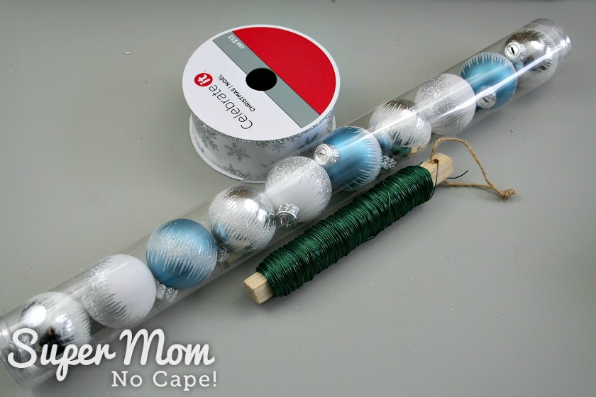 Wired ribbon, Christmas baubles and floral wire for the DIY Christmas Wreath Kit