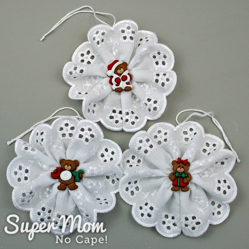 Three Christmas Button Lace Ornaments with bear button centers