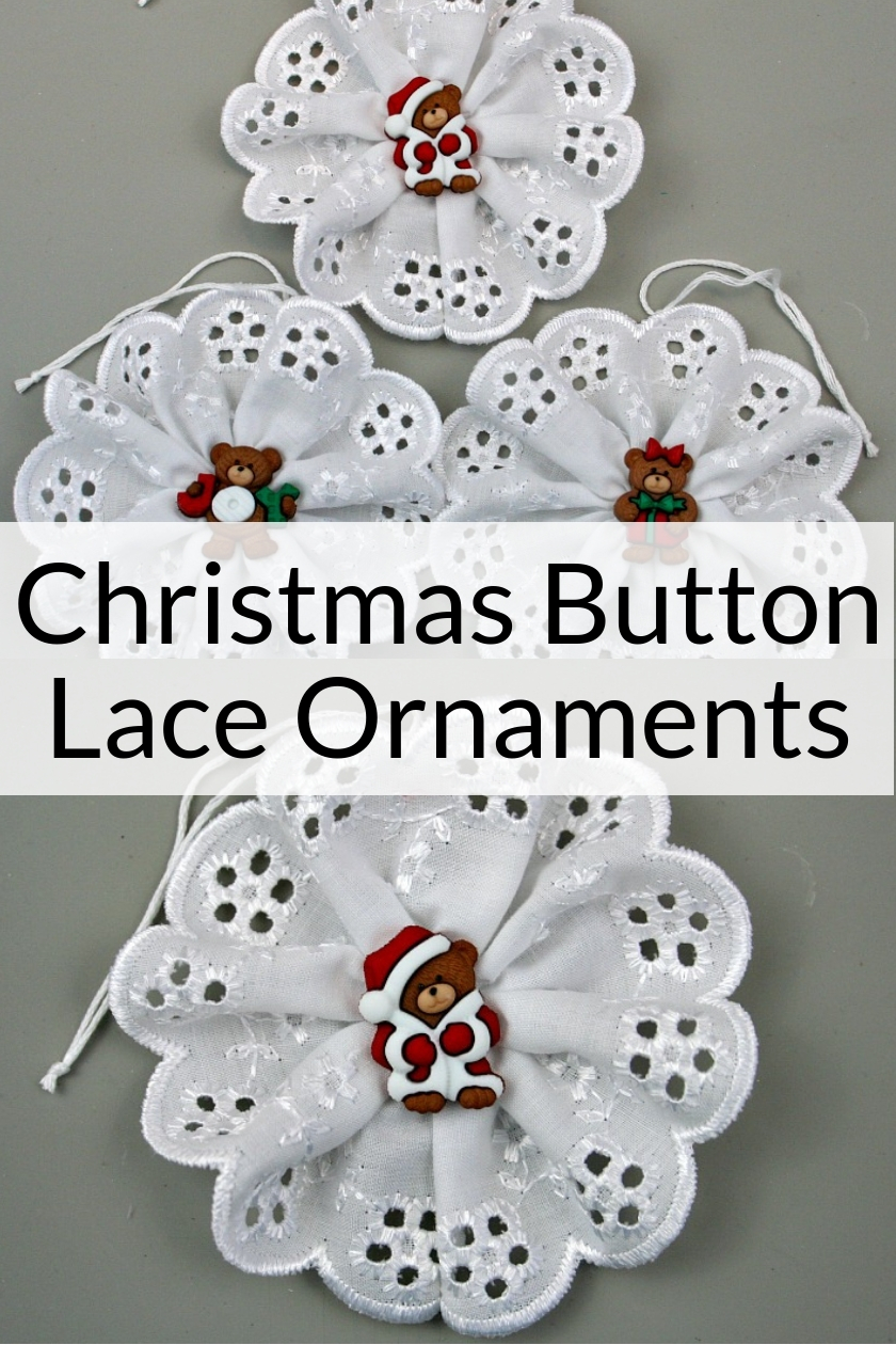 Collage photo of Bear Button Christmas Button Lace Ornaments