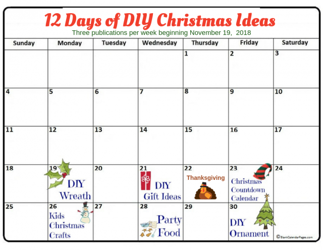Calendar for Days in November for the first 6 of the 12 Days on Christmas