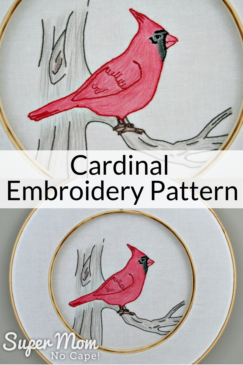 Collage photo of Cardinal Embroidery pattern in embroidery hoop
