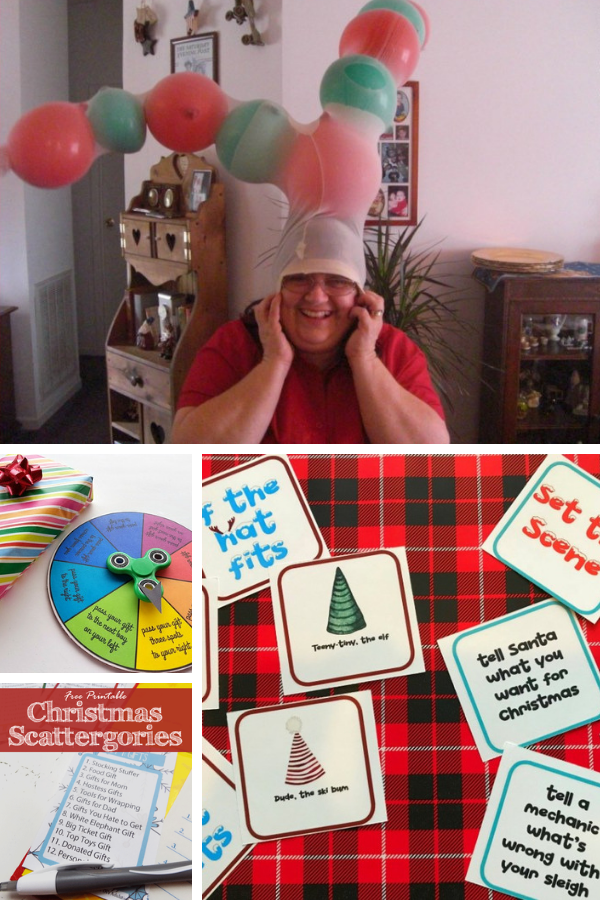 collage photo of 4 different Christmas party games