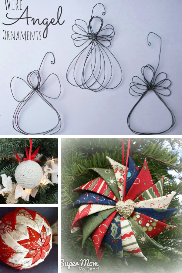 Collage photo of 4 different DIY Christmas ornaments