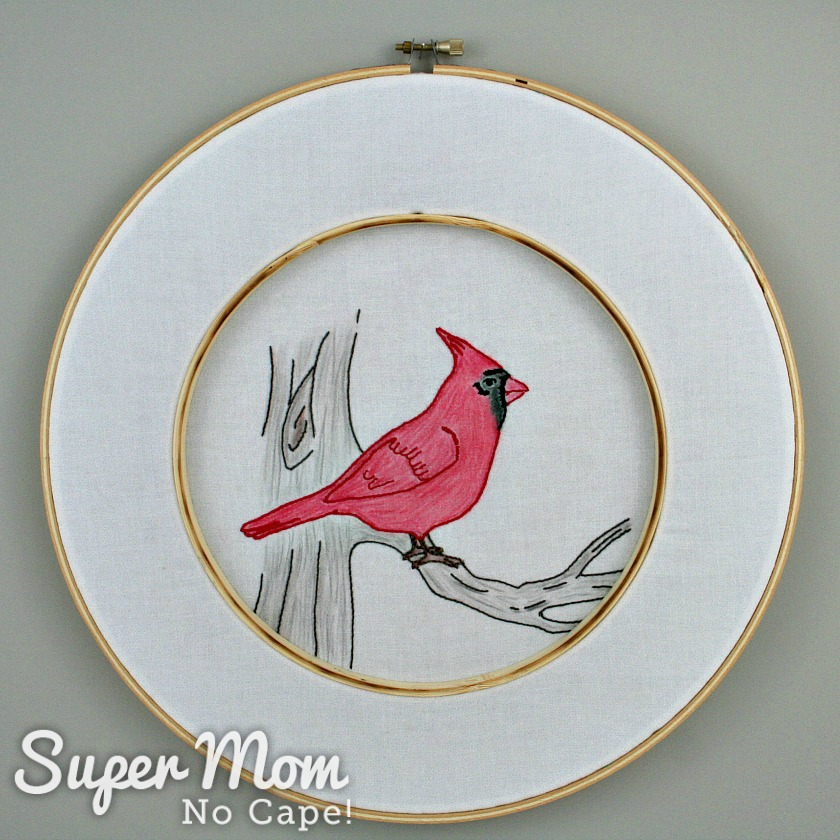 Double hooped Cardinal Embroidery Pattern