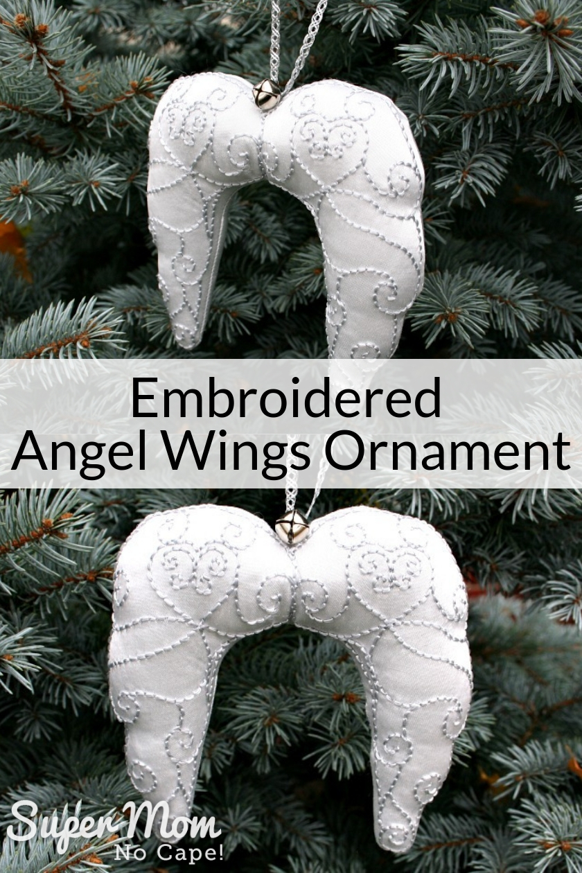 Collage photo of the finished Embroidered Angel Wings Ornament