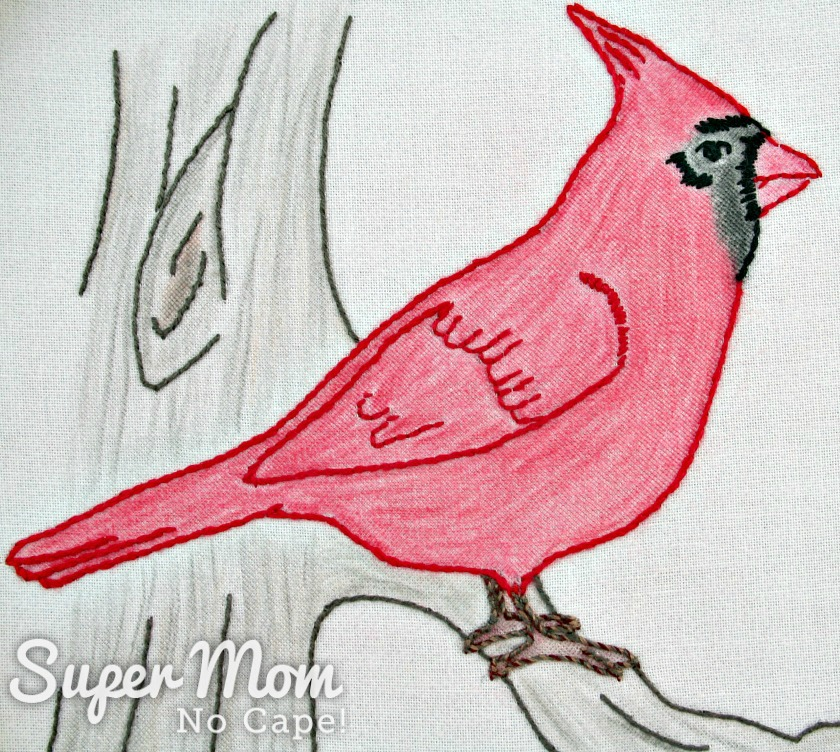 Embroidered Cardinal with crayon coloring
