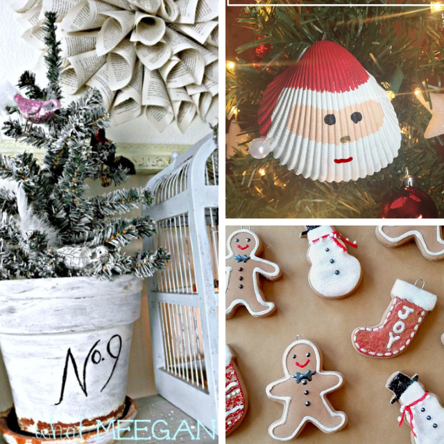 collage photo of flocked tree, sea shell santa and gingerbread ornaments