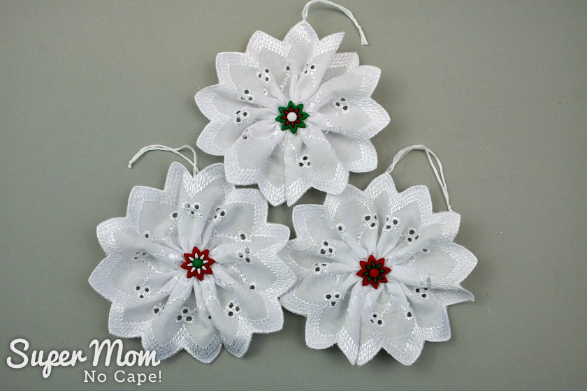 Three Christmas Button Lace Ornaments with flower button centers