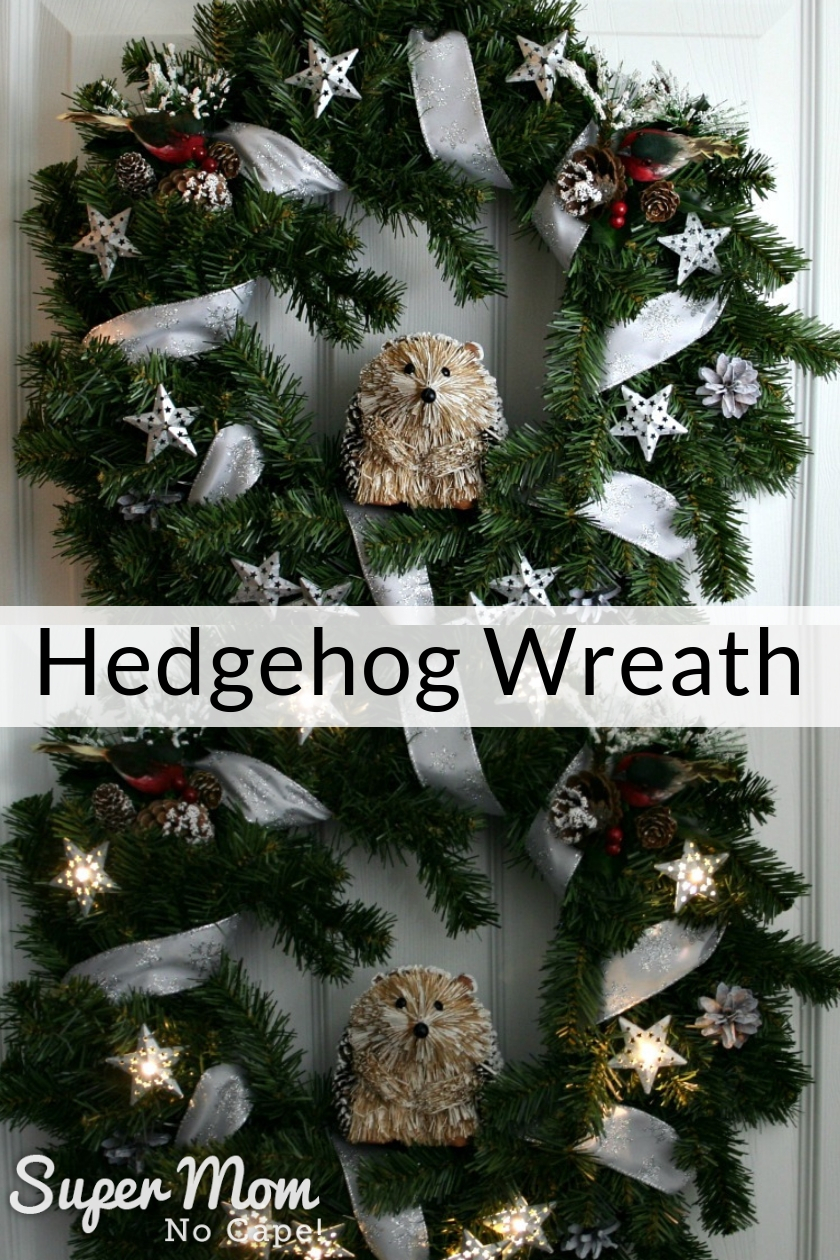 Collage photo of Hedgehog wreath made from the DIY Christmas Wreath Kit lit and unlit