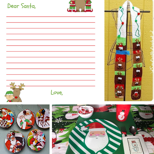Collage photo of printable letter to Santa and three different kids crafts