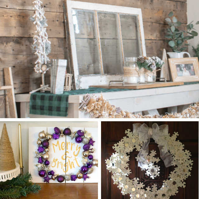 Collage photo of Christmas Decor and 2 Christmas wreaths