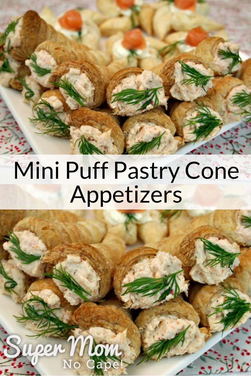 Collage photo Mini Puff Pastry Cone Appetizers filled and on a serving plate