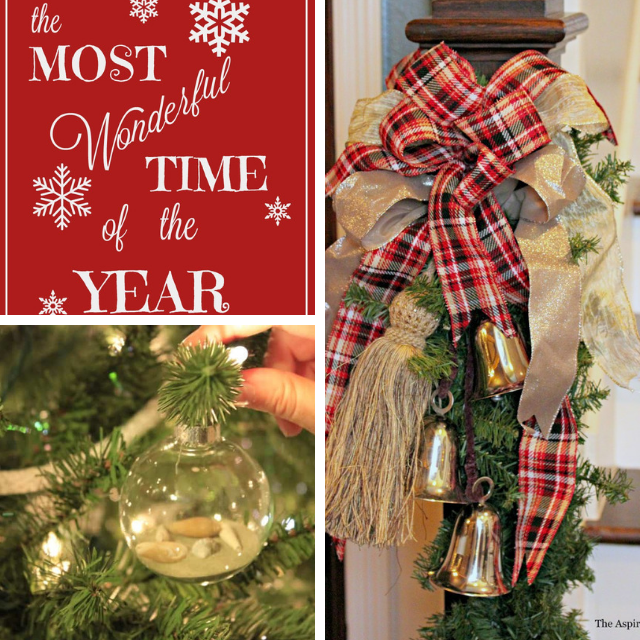 collage photo of Christmas printable, ornament and banister wreath