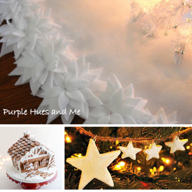 Collage photo of white tree skirt, gingerbread house and star garland