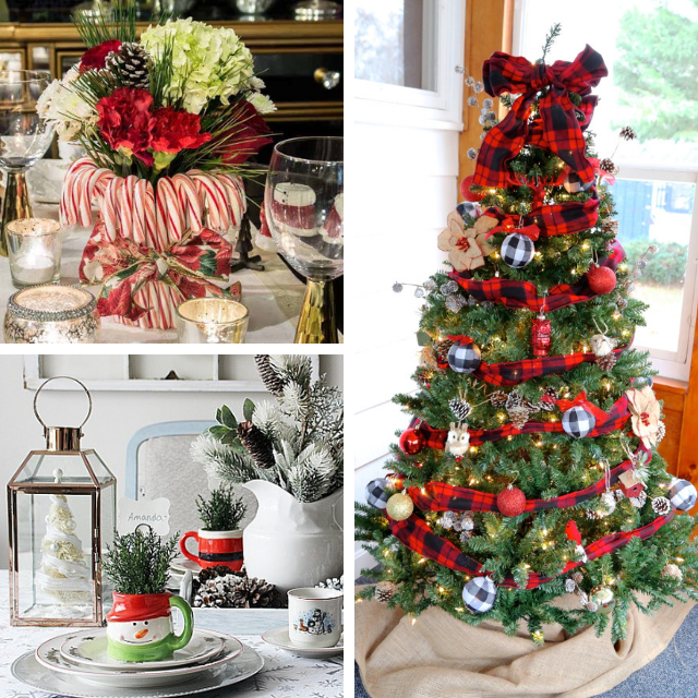 collage photo of 2 Christmas table settings and a decorated tree